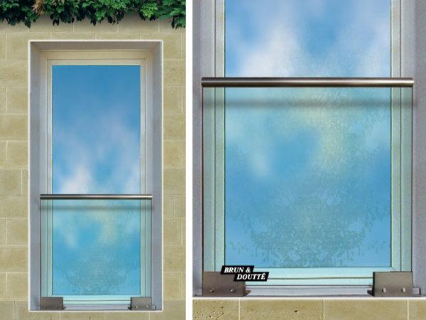 AGORA Garde-corps de fenêtre verre sur platines acier