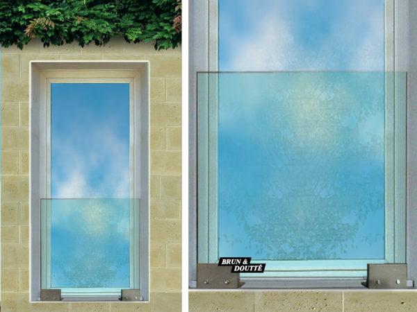 ATLANTIS Garde-corps de fenêtre verre sur platines acier